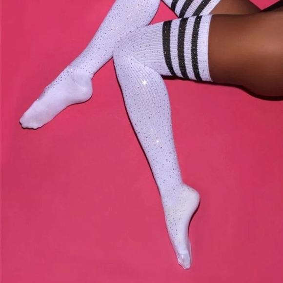 2df4ad376 Striped sparkly sequin crystal over knee socks otk
